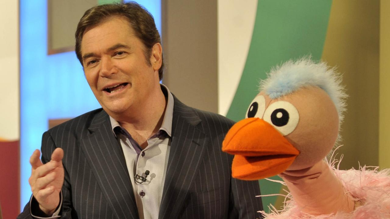 Daryl Somers with Ossie Ostrich on the set of Hey Hey It's Saturday. Picture: Channel 9