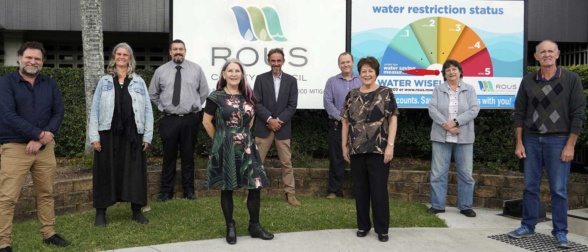 COUNCILLORS: From left, present at the meeting were Cr Simon Richardson, Cr Vanessa Ekins, Phillip Rudd (general manager), Cr Sandra Humphrys, Cr Keith Williams (chair), Michael McKenzie (Future Water project manager), Cr Sharon Cadwallader (deputy chair), Cr Darlene Cook and Cr Robert Mustow.