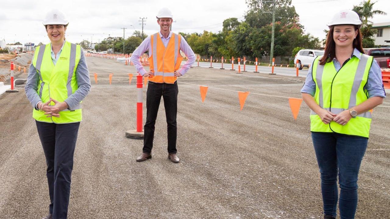 Premier Annastacia Palaszczuk, Transport minister Mark Bailey and Keppel MP Brittany Lauga in Rockhampton last week.