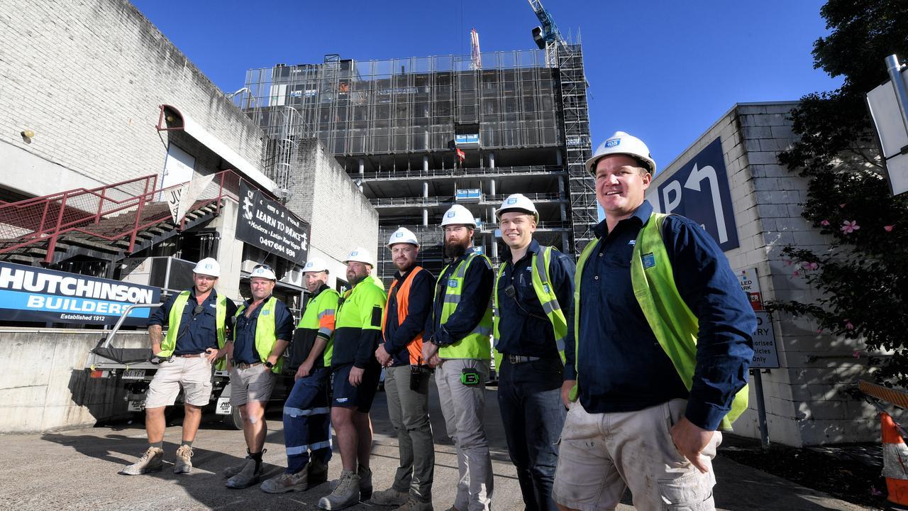 Ipswich locals working on the Ipswich CBD development with Hutchinson Builders. Jay Archer, Greg Brooks, Peter Marsh, Nick Cassin, Julian Gourgaud, Matt Hanna, Isaac Morrison, and Jai Sessarago.
