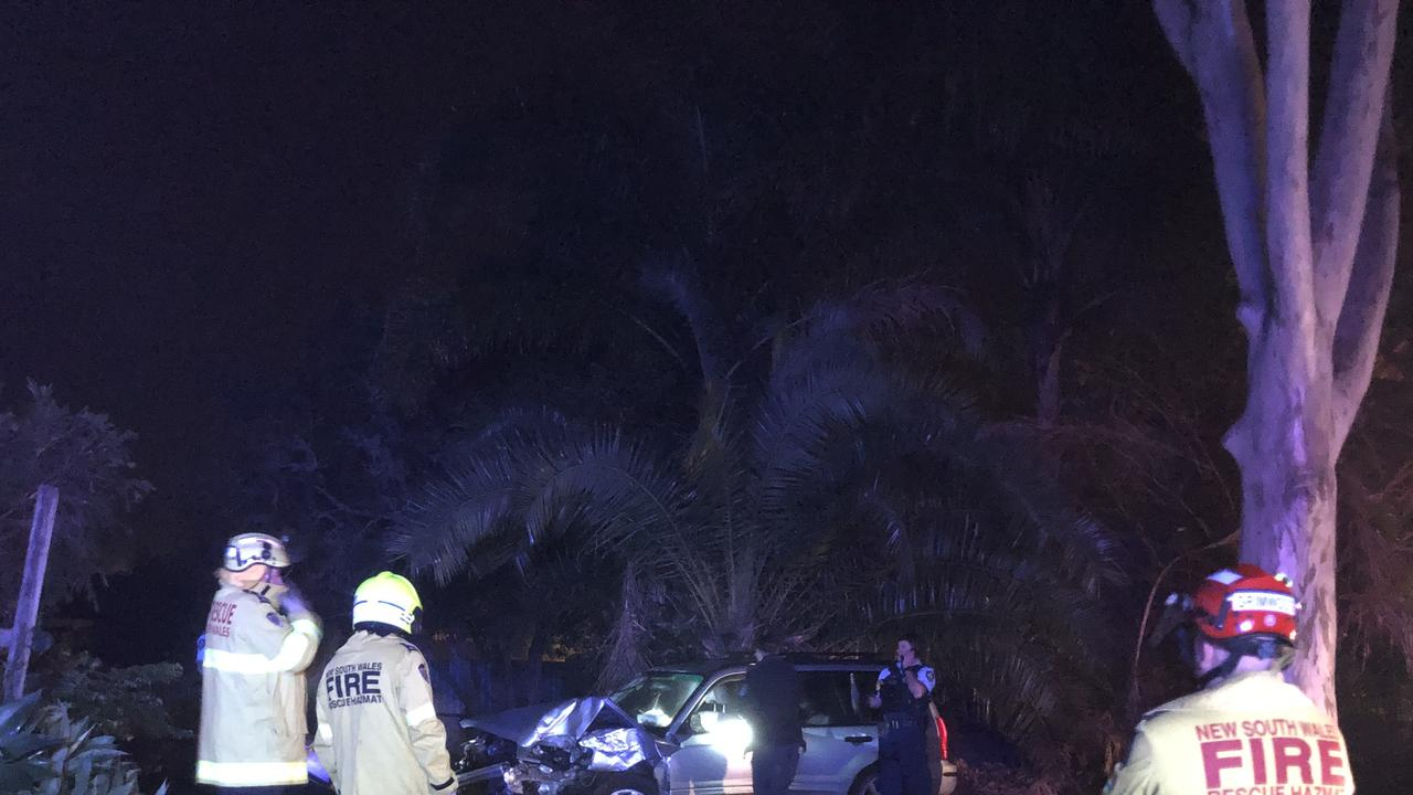 DRIVER FLEES: The driver of a silver Subaru which crashed into a gum tree in East Lismore fled the scene along with an unknown number of passengers shortly after 2am..Photo: Alison Paterson