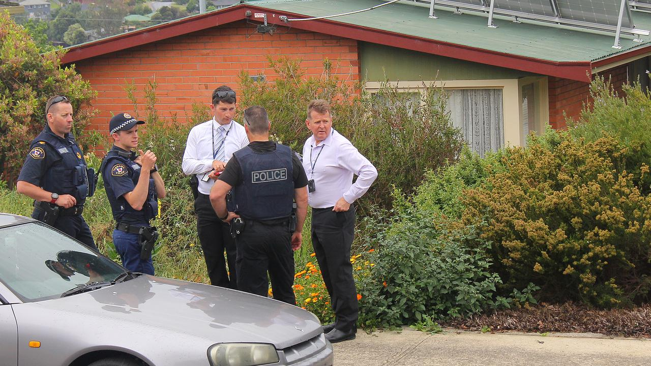 Tasmania Police outside the home involved in the siege at Trevallyn. Picture: BRUCE MOUNSTER