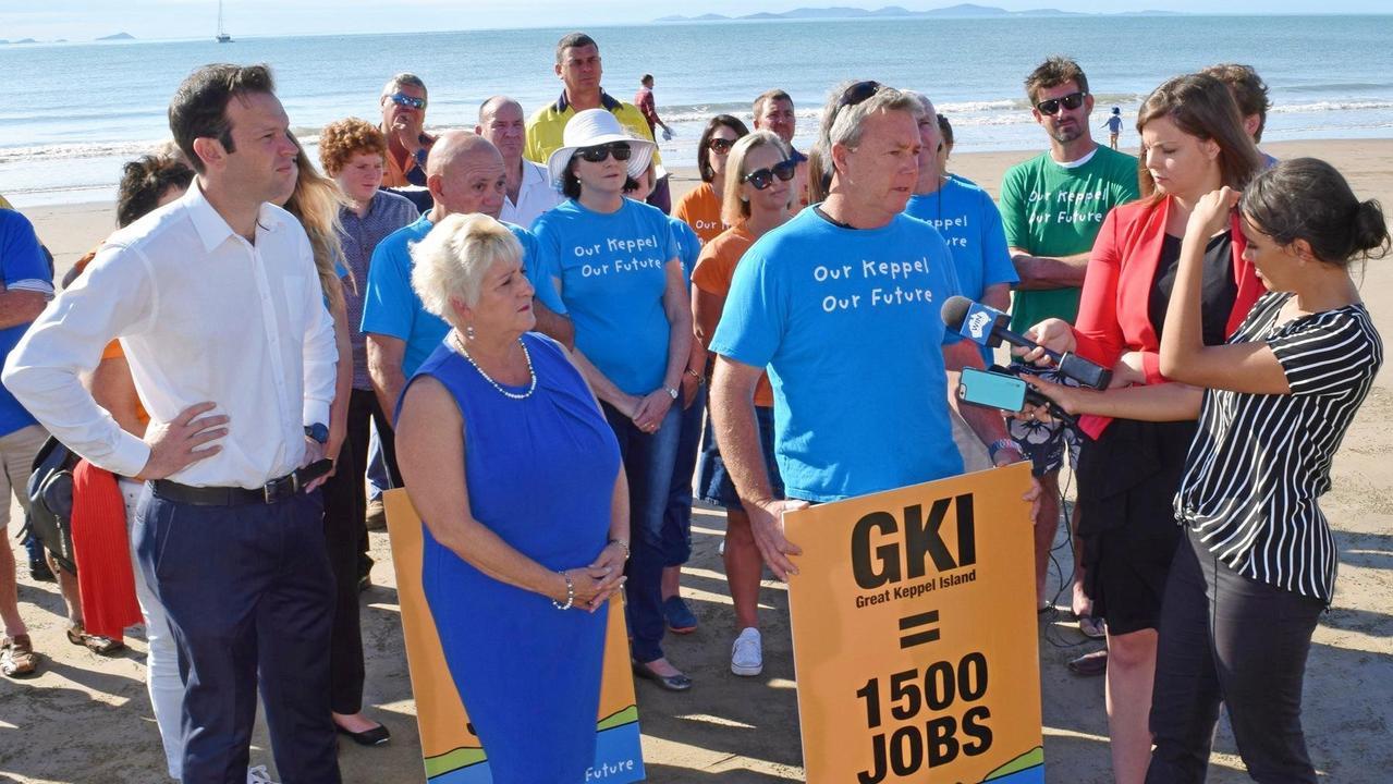 Senator Matt Canavan (left) and Capricornia MP Michelle Landry on Great Keppel Island.