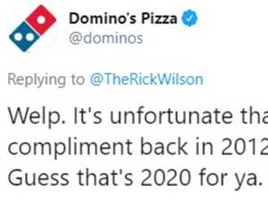 Domino's hits back over 2012 tweet