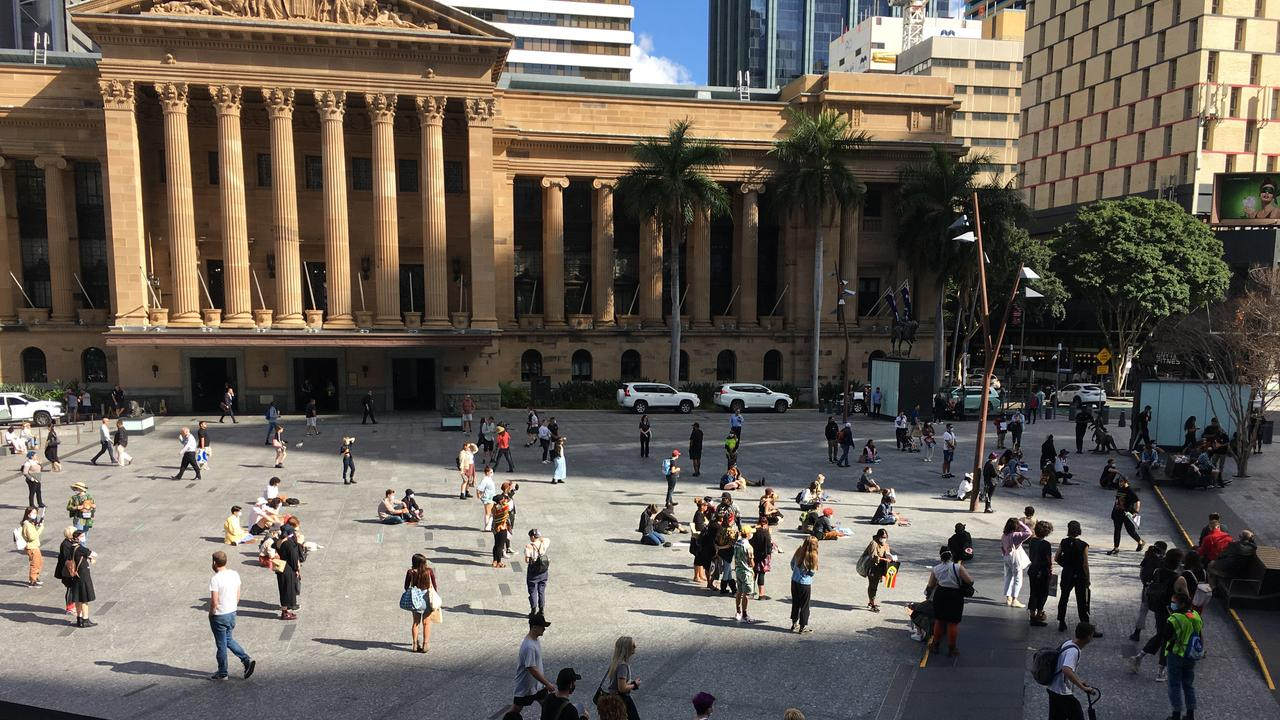Protesters gather at Brisbane City Hall on Wednesday. Picture: Attila Csaczar