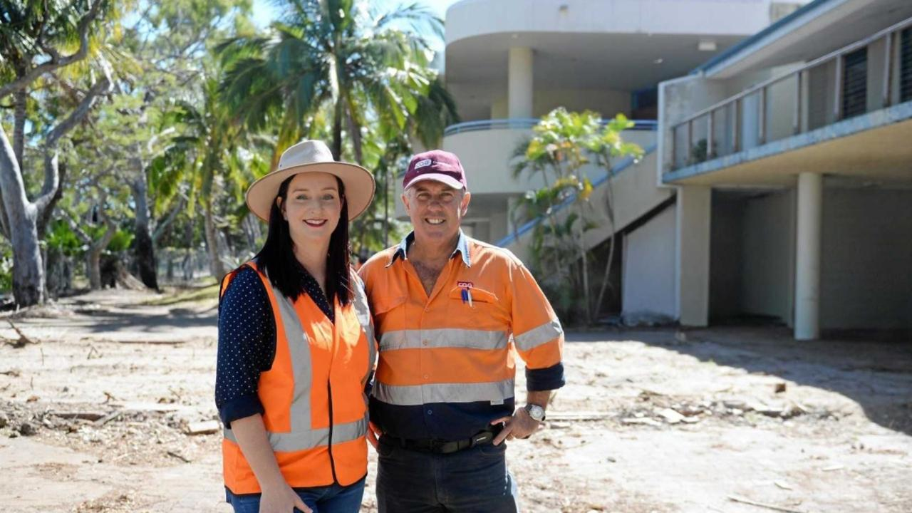 GKI SUPPORT: In 2018, Keppel MP Brittany Lauga visited CQG Consulting's Andrew Brown who had completed the demolition of a number of old buildings at the Great Keppel Island Resort.