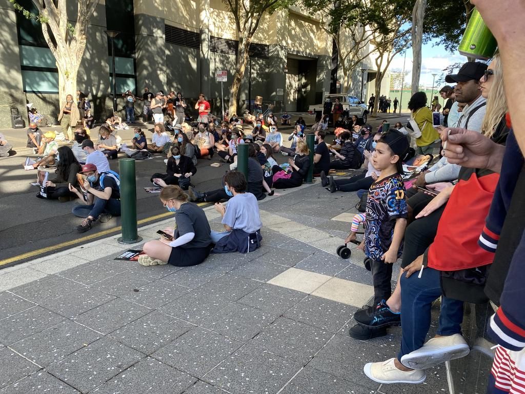 Black Lives Matter protesters outside a Brisbane court on Wednesday. Picture: Vanessa Marsh