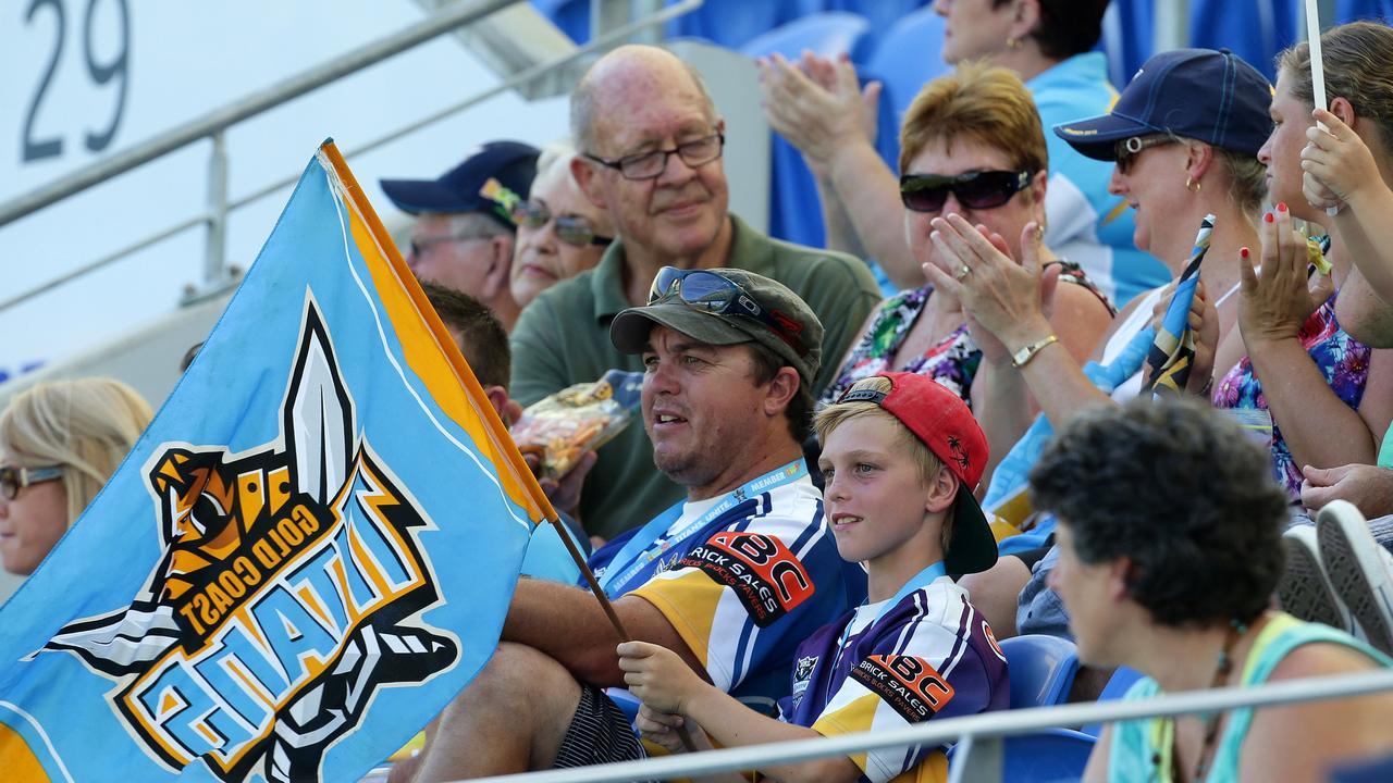 Crowds during the Gold Coast Titans v Wests Tigers NRL Round 2 game at Cbus Super Stadium.