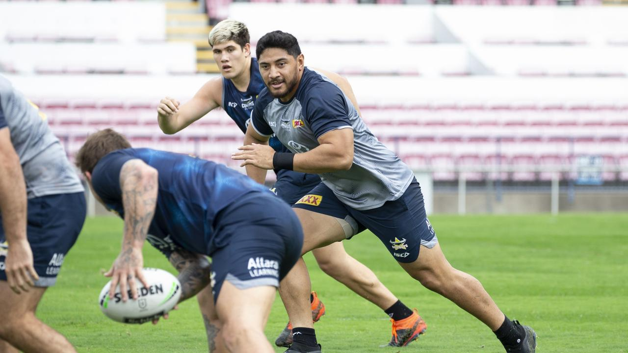 Cowboys' lock Jason Taumalolo during a training session at Willows Sports Complex. Picture: Cowboys Media