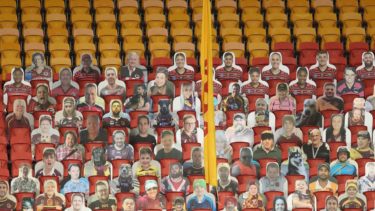 For the past three rounds, NRL crowds have consisted of cardboard cutouts. Picture: AAP