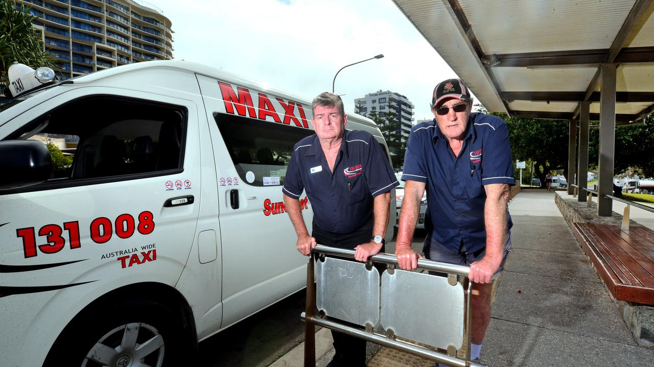 Suncoast Cabs director Clark Chappel and driver Barry Stumbles. Photo: John McCutcheon / Sunshine Coast Daily