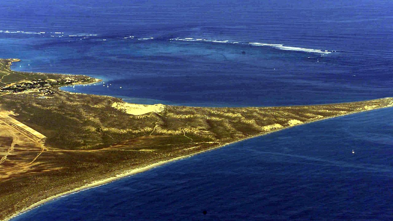 Aerial view of Coral Bay with the Ningaloo reef and Mauds Landing (beach in foreground), near where the fatal tragedy happened on Tuesday.