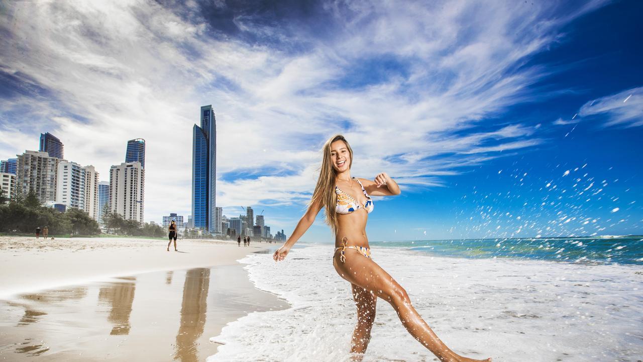 Tatiana Reyes, 24, enjoying the Gold Coast beaches. Photo: NIGEL HALLETT.