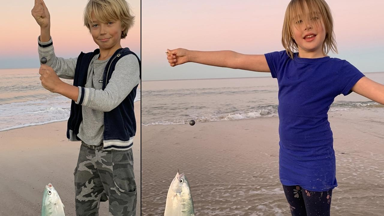 Miller and Kira Nothling caught some nice size dart at Teewah on the high tide using beach worms as their draw card. Picture: fishingnoosa.com.au