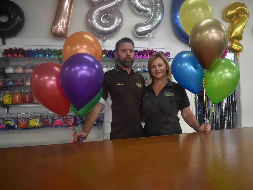 Gympie Party World owners Clayton and Anna Reid. PHOTO: Bec Singh