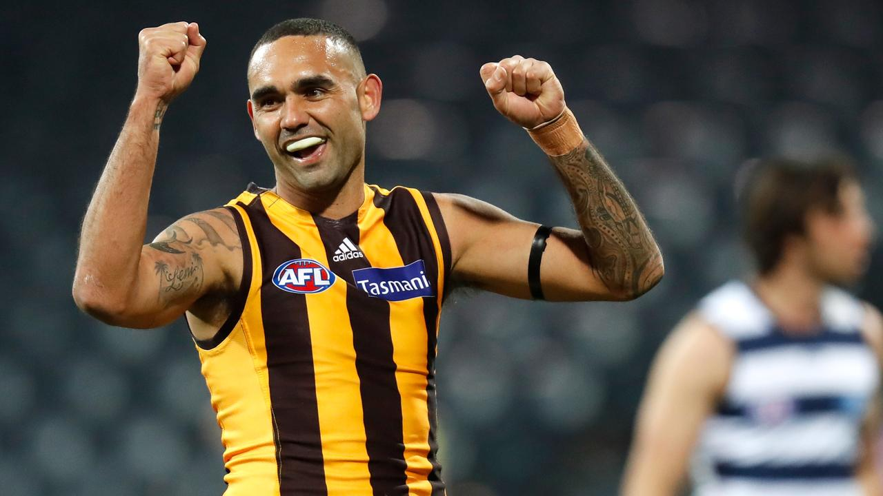 GEELONG, AUSTRALIA – JUNE 12: Shaun Burgoyne of the Hawks celebrates a goal during the 2020 AFL Round 02 match between the Geelong Cats and the Hawthorn Hawks at GMHBA Stadium on June 12, 2020 in Geelong, Australia. (Photo by Michael Willson/AFL Photos via Getty Images)