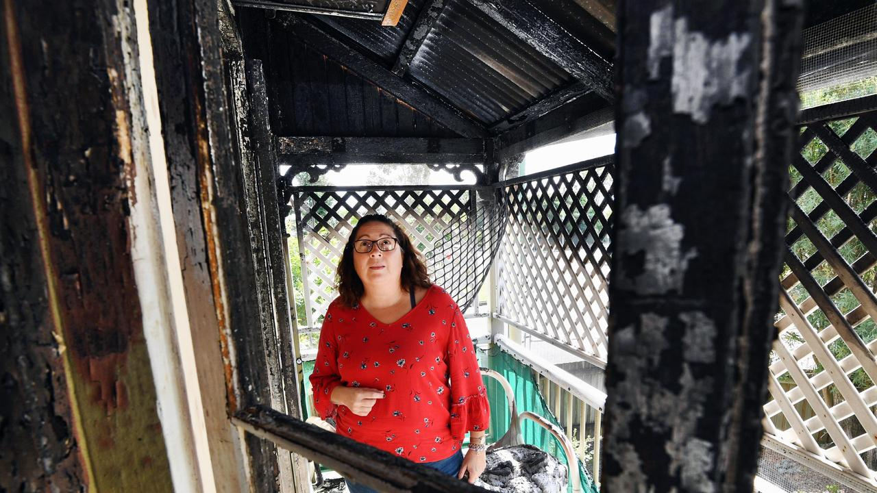 Fire destroys house at the corner of Woodstock and John Sts in Maryborough - owner Monika Birch surveys the damage from her front verandah.Photo: Alistair Brightman