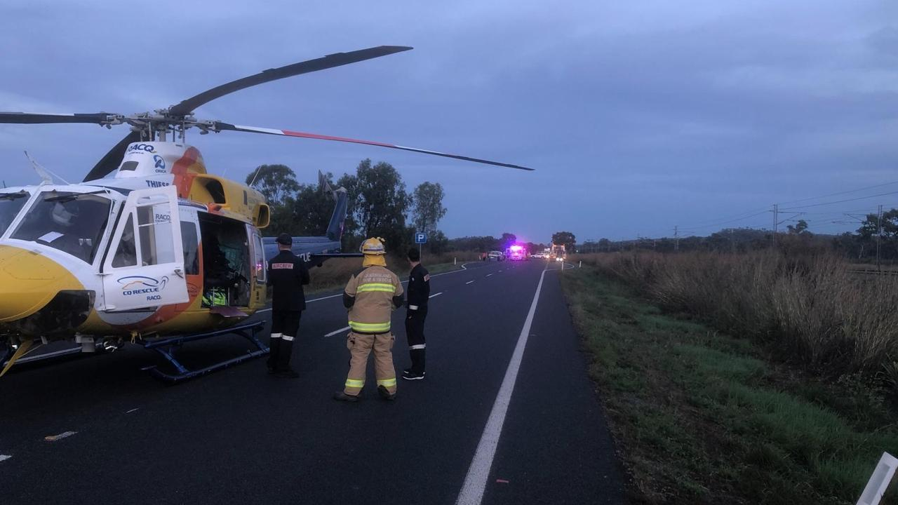 A man has been seriously injured and flown to Townsville Hospital by RACQ CQ Rescue after a horror incident on the Peak Downs Highway near Coppabella early Thursday morning, June 18.