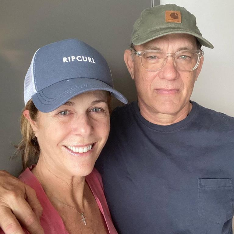 Elvis star Tom Hanks with his wife Rita Wilson in quarantine on the Gold Coast after contracting coronavirus in March. Picture: Instagram