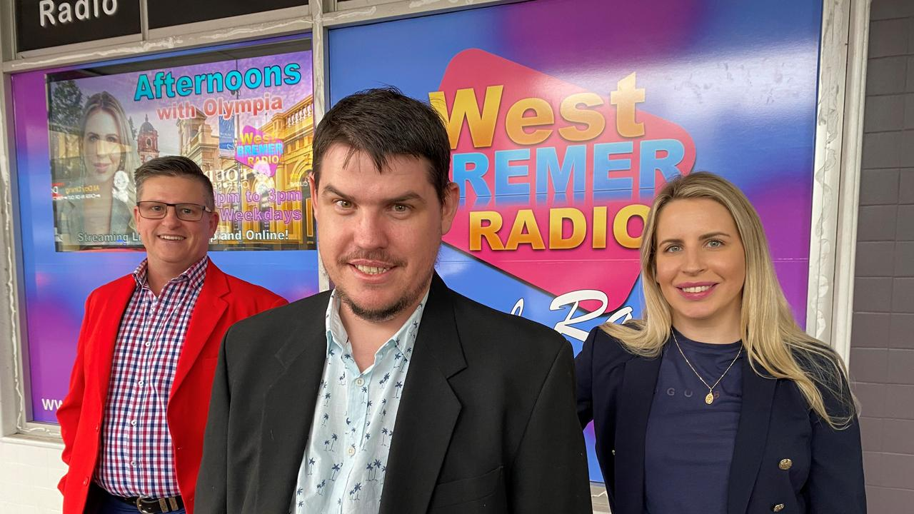 West Bremer Radio drive time announcer Shane Mallory, station manager Bradley Clarke, and afternoon host Olympia Kwitowski.