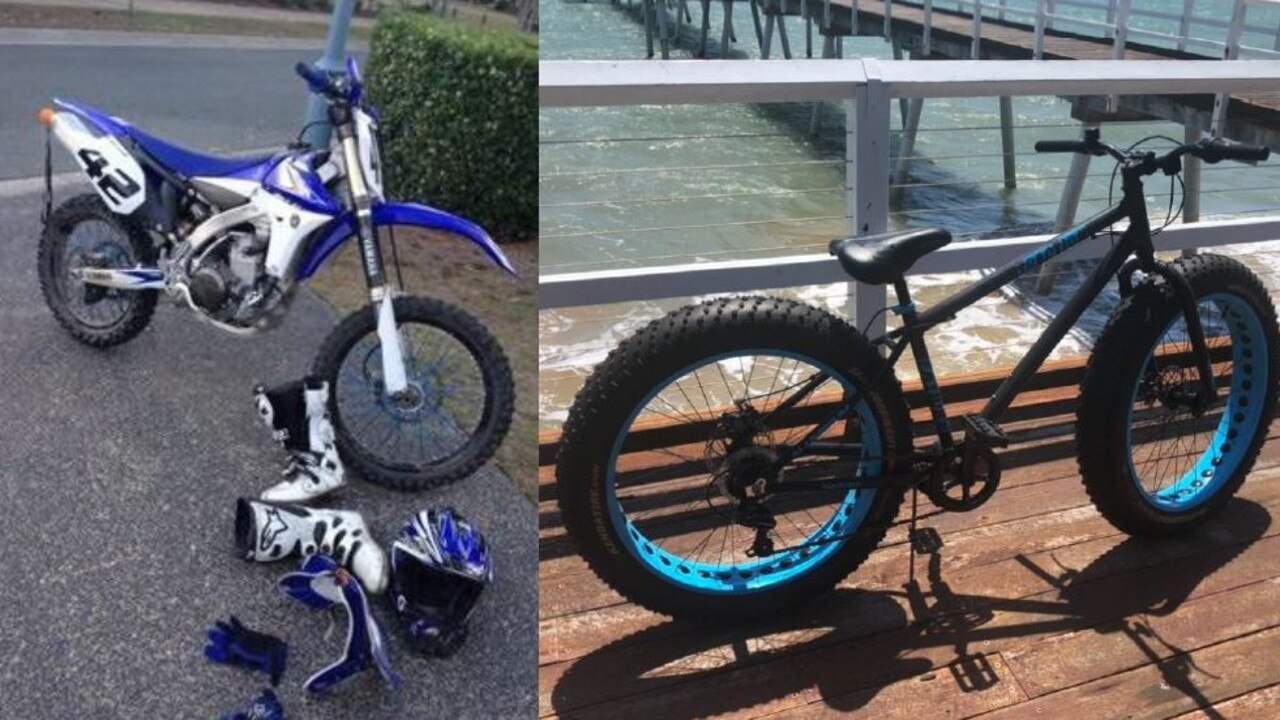 Police are calling for information after a dirt bike, off-road riding equipment and a bicycle were stolen from a Pialba storage shed recently. PHOTO: Contributed.