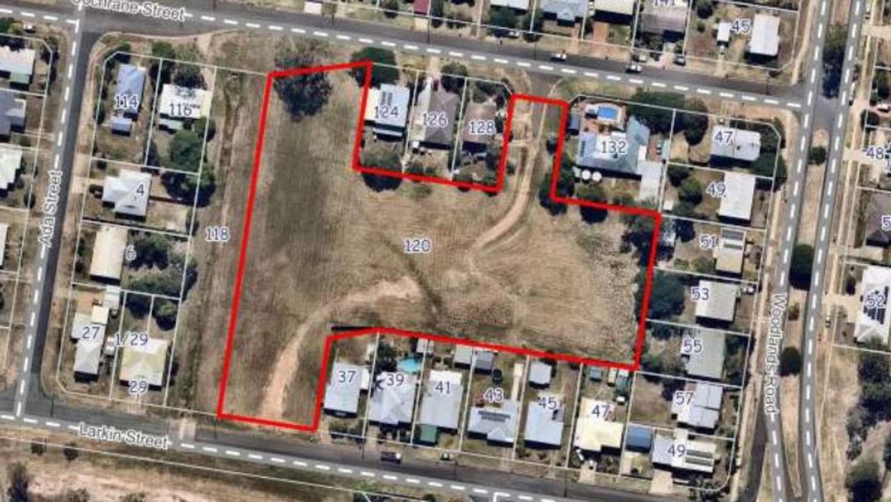 The block at 120 Cochrane St, Gatton, the location of a proposed 40-unit development.
