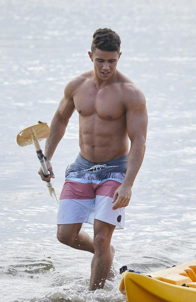 Orpheus Pledger on set of Home and Away at Palm Beach.