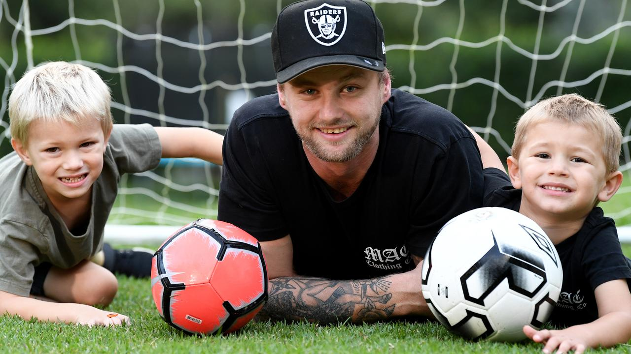 Life has returned to normal for Tim Cornthwaite and his sons Luca and Theo almost two years after a bucks party prank gone horribly wrong. Photo: Warren Lynam