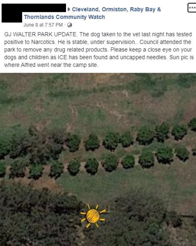 Facebook post in a Redlands community group shows the location where a dog is claimed to have eaten drugs. Picture: Facebook