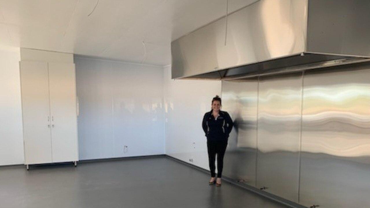 RENOVATED: Chinchilla Race Club secretary Kirstin Mitchell in the revamped club kitchen.