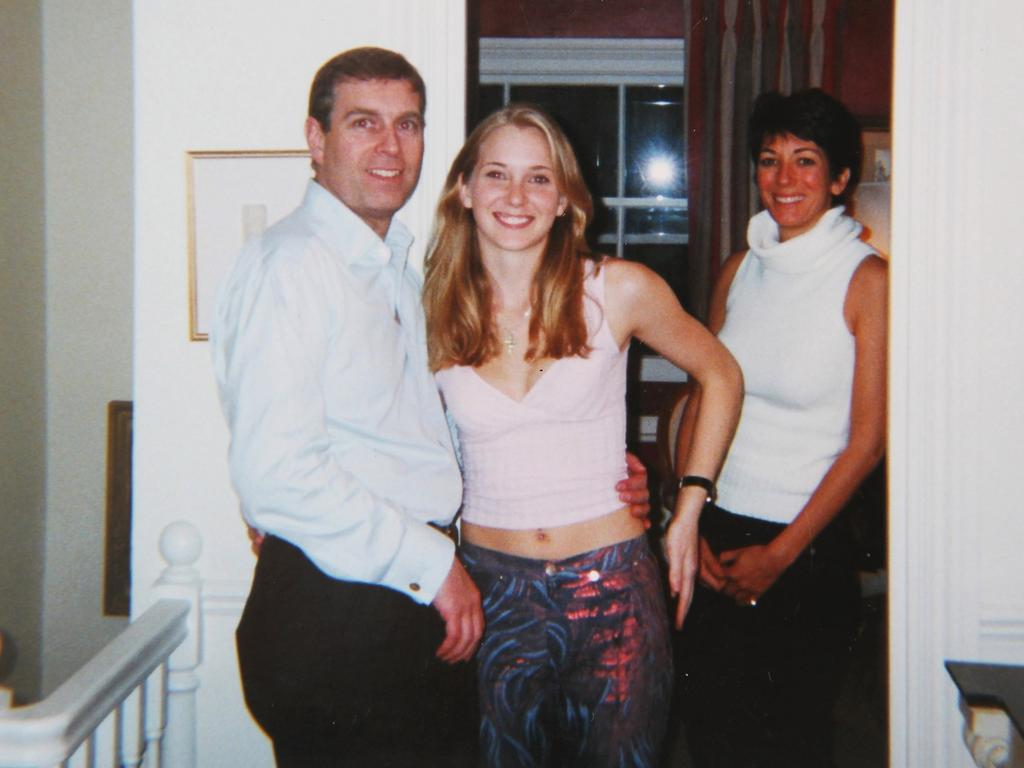 Prince Andrew smiling as he stands with his left arm around the waist of a young Virginia Roberts-Giuffre. Ghislaine Maxwell stands behind. Picture: Backgrid