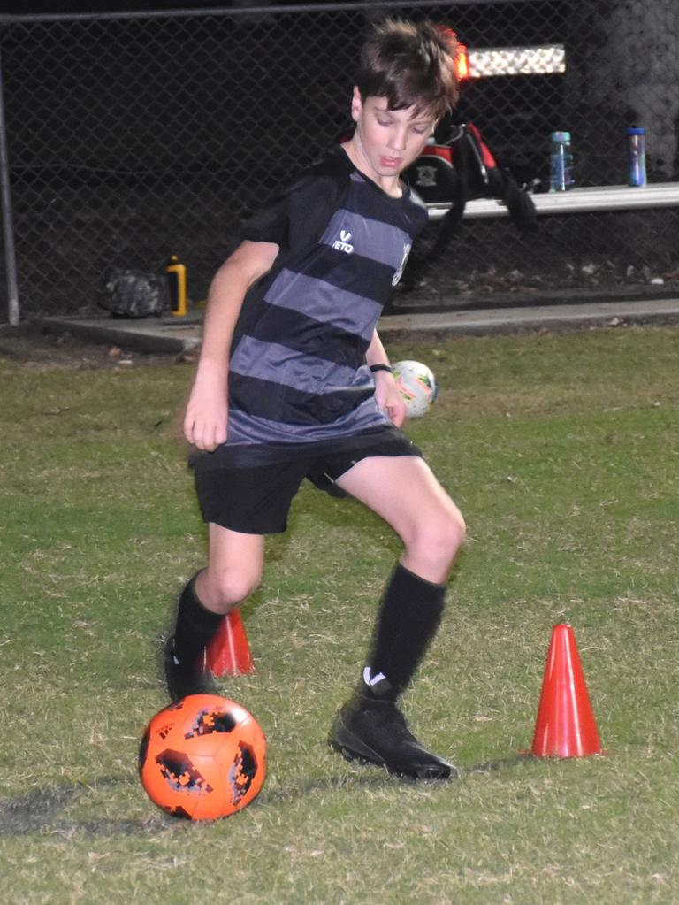 Ipswich City Bulls junior footballers are back enjoying the opportunity to train safely at the Brassall fields. Picture: Gary Reid