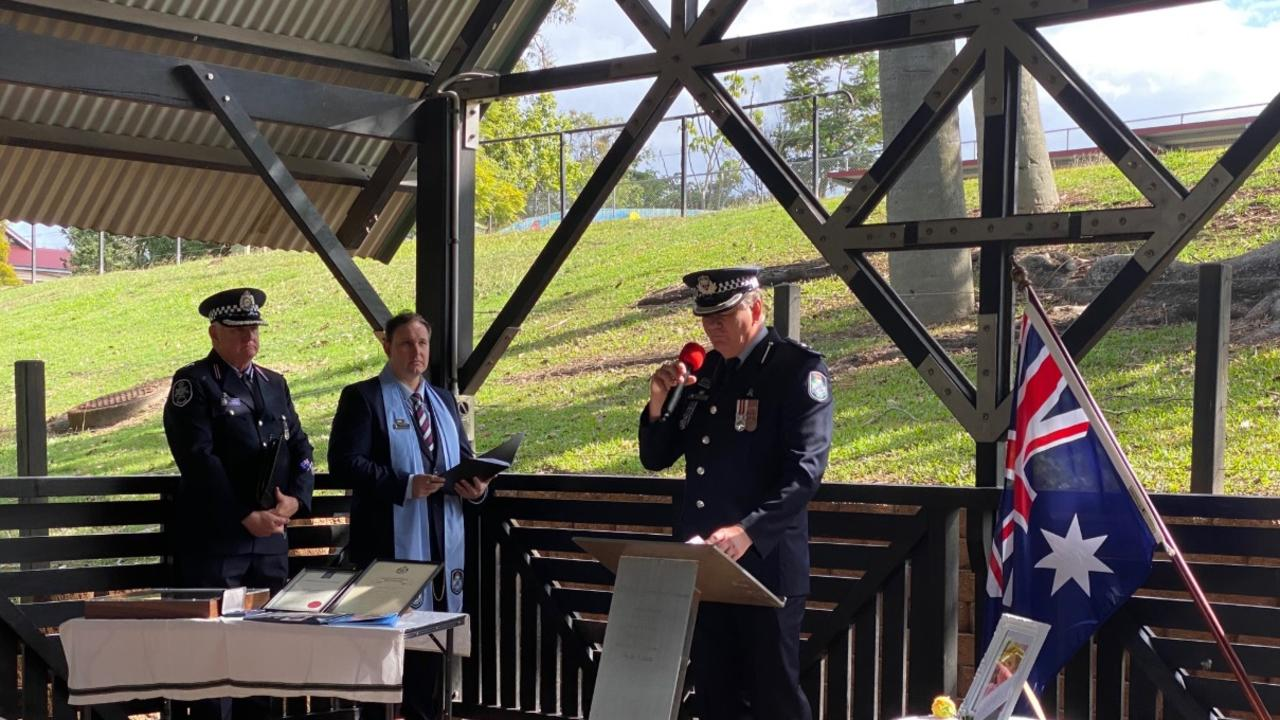 Queensland Police Service Superintendent Michael Sawrey delivers a statement of service for the late Judith Jackson at her memorial service in Maryborough. PHOTO: Contributed.