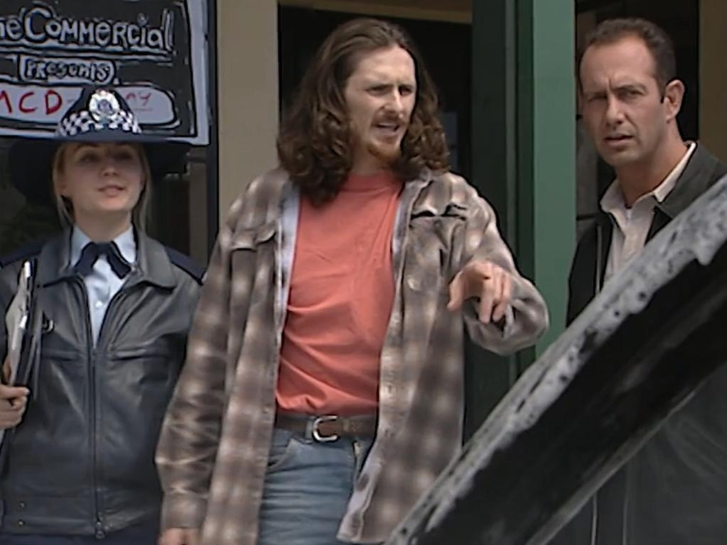 Karm Gilespie playing Keenan Psyches (centre), a pyromaniac on Blue Heelers in 1996. Picture: Chanel 7