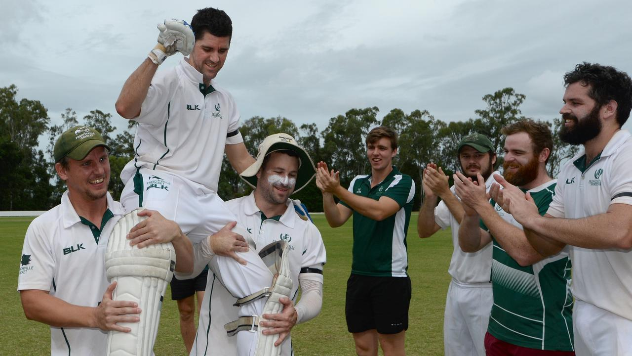 MEMORABLE MOMENT: Jason Wells is chaired from the field by his Frenchville teammates in 2018 after winning his 10th A-grade premiership in what was his 20th and final year of A-grade cricket.   Picture: File
