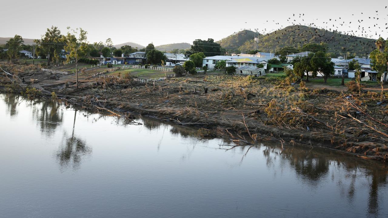 Scars on the banks of the Burnett river at Gayndah in 2013. Pic Megan Slade.