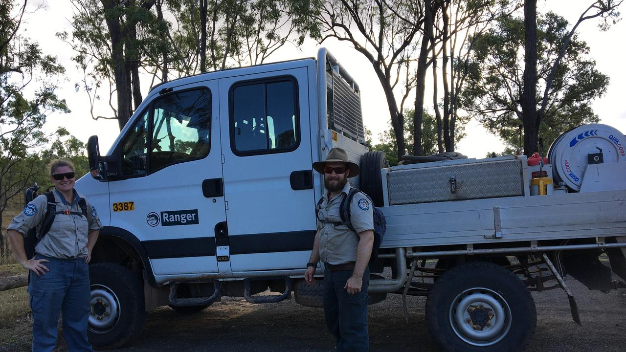 Queensland Park and Wildlife Service rangers visiting Mt Walsh near Biggenden to help with vandalism. Picture: Moira Thomspon