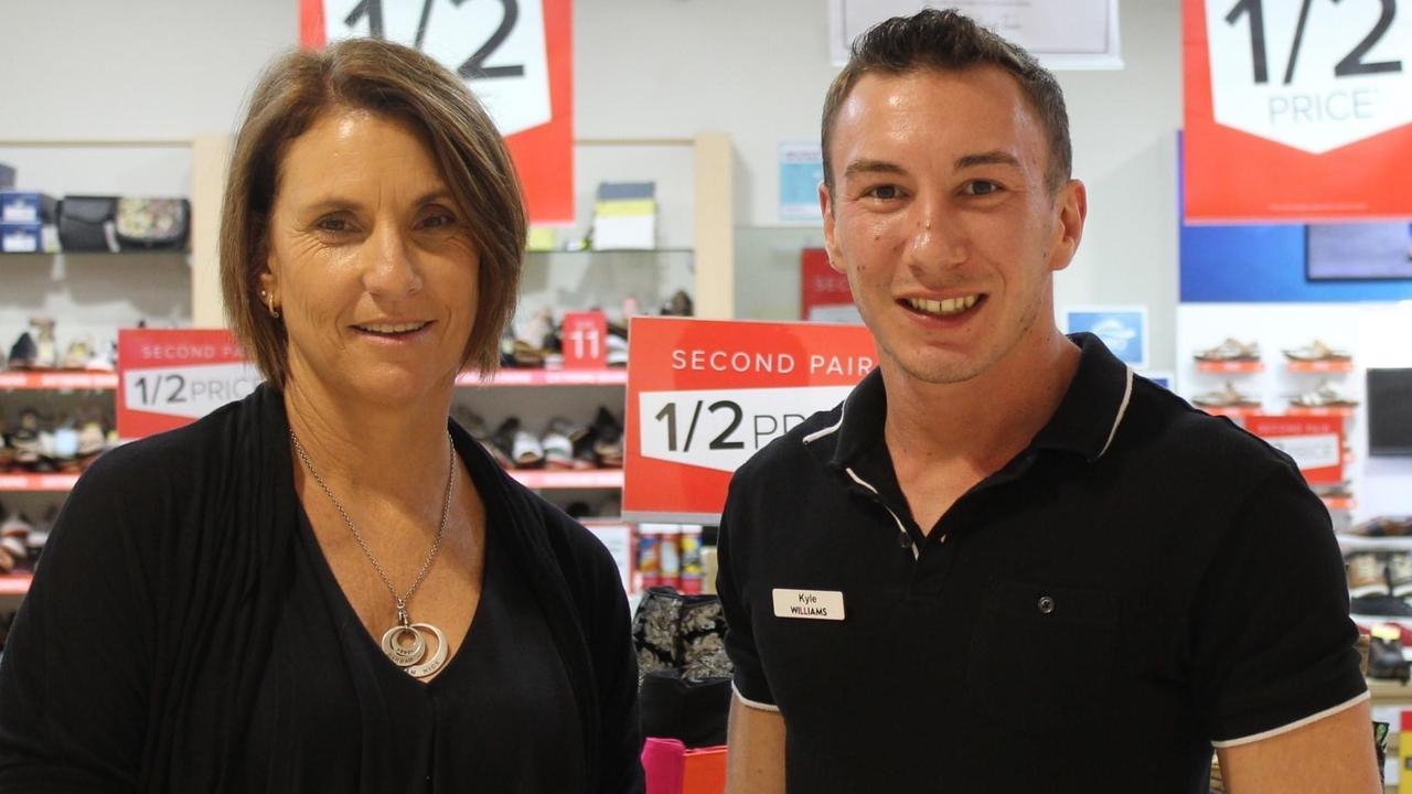 Williams the Shoeman Kin Kora staff member Fiona Lowry and manager Kyle Stubberfield.