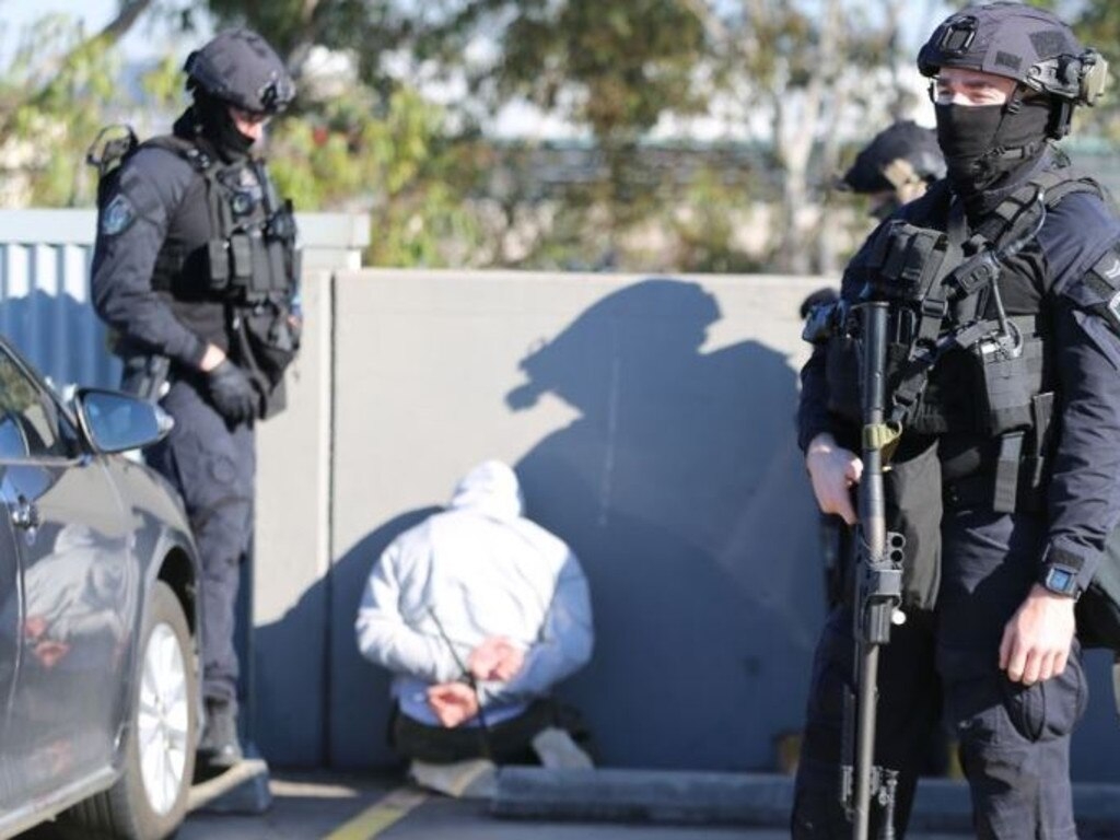 One of the men being arrested.