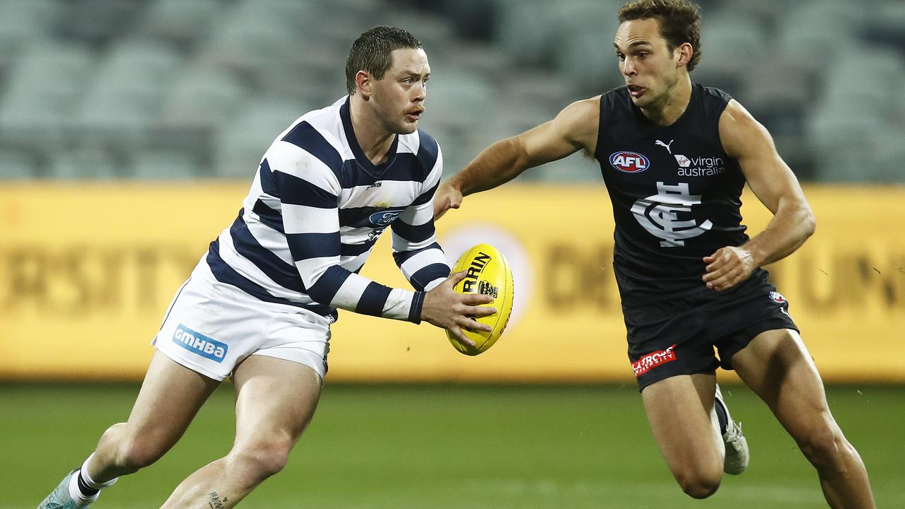 Star recruit Jack Steven made his debut for Geelong in Saturday's loss to Carlton.
