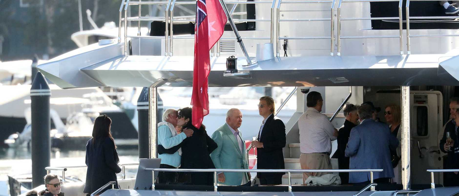 Broadcaster Alan Jones shows no sign of putting a stop to the celebrations, spotted in high spirits on board a private yacht in Sydney Harbour.