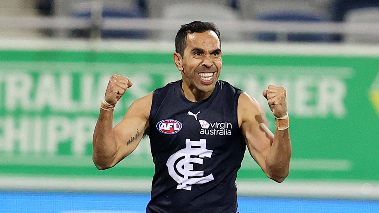 Eddie Betts celebrates a goal during Carlton's first-quarter dominance.
