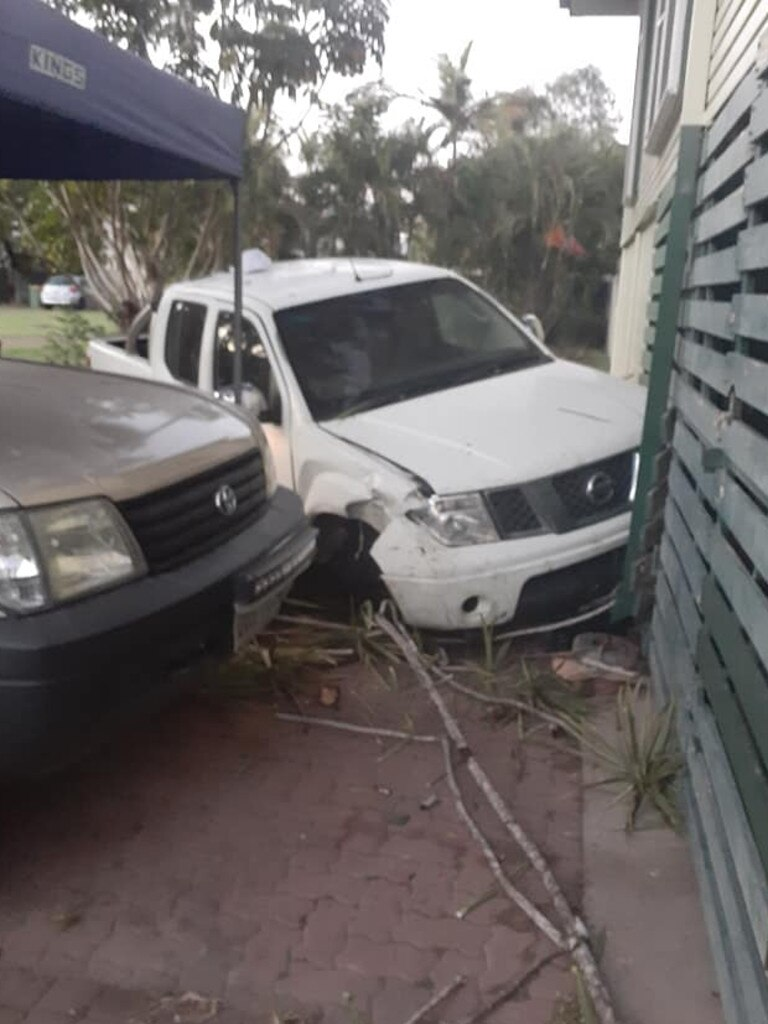 A car rammed into a Townsville home this morning.
