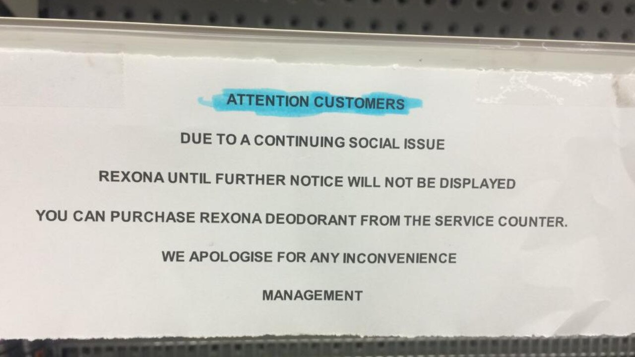 A sign alerting customers that Rexona deodorant has been removed from the shelves.