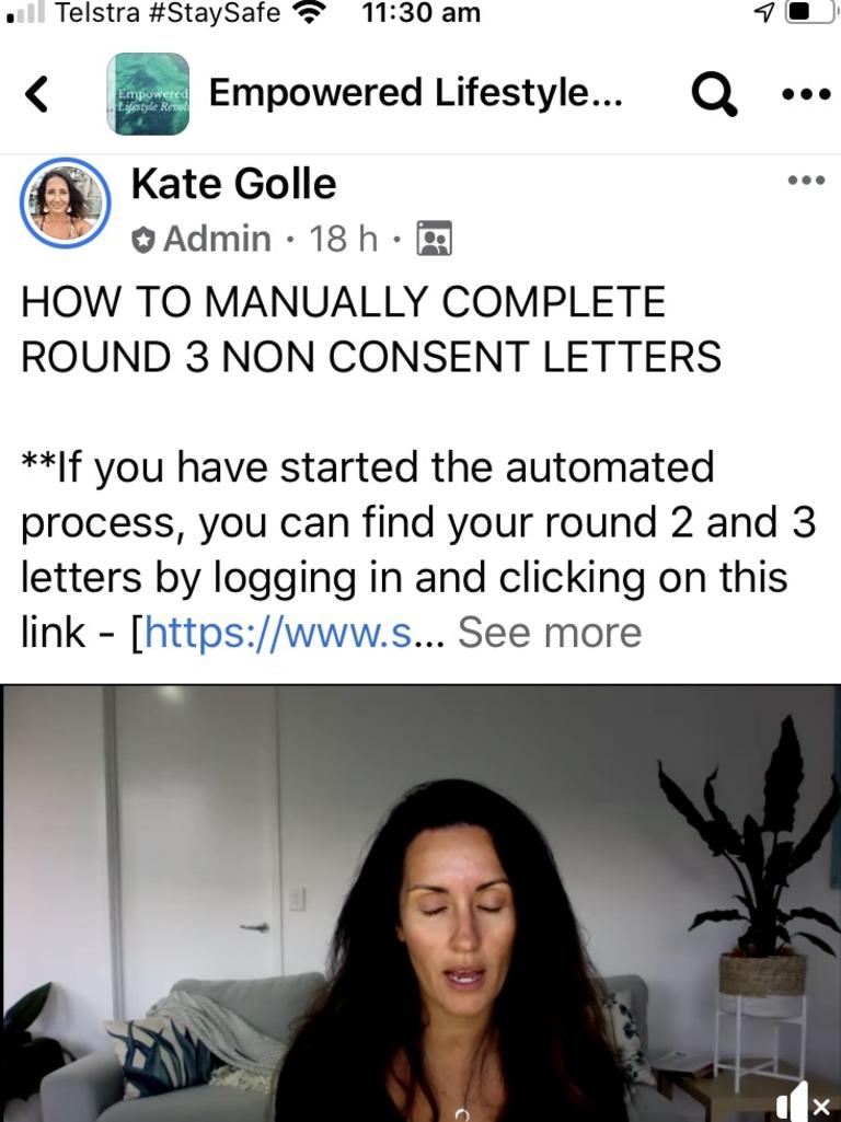 Kate Golle coaching followers to write letters to politicians.