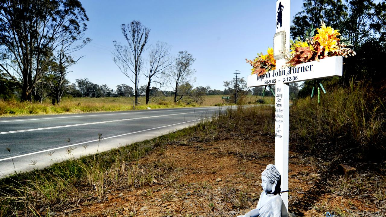 A memorial along the D'Aguilar Highway near Gamgee Road. The highway has been listed for a safety upgrade between Caboolture and Yarraman.