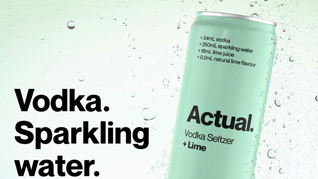 The advertisement for Actual vodka seltzer.