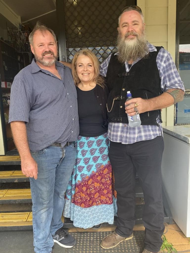 Eungella General Store and Cafe owners Jamie Mussig and Michaela Pritchard with Dave Monk, who organised the rally of support. Picture: Contributed