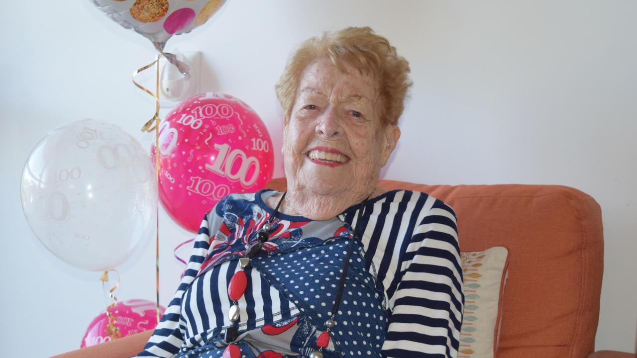 Beryl Carter celebrating her 100th birthday. Picture: Heidi Petith