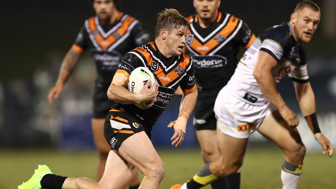 Harry Grant of the Tigers was crucial in his side's early game dominance against the Cowboys. (AAP Image/Brendon Thorne) Y